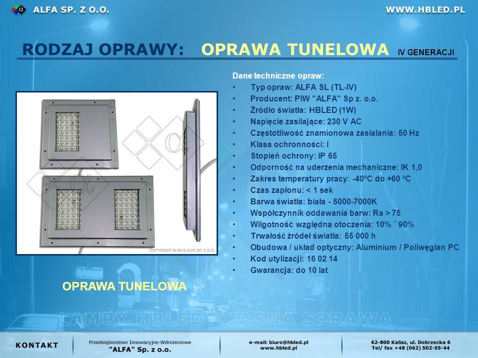 RODZAJ OPRAWY: OPRAWA TUNELOWA IV GENERACJI Dane techniczne opraw: Typ opraw: ALFA SL (TL-IV) Producent: PIW