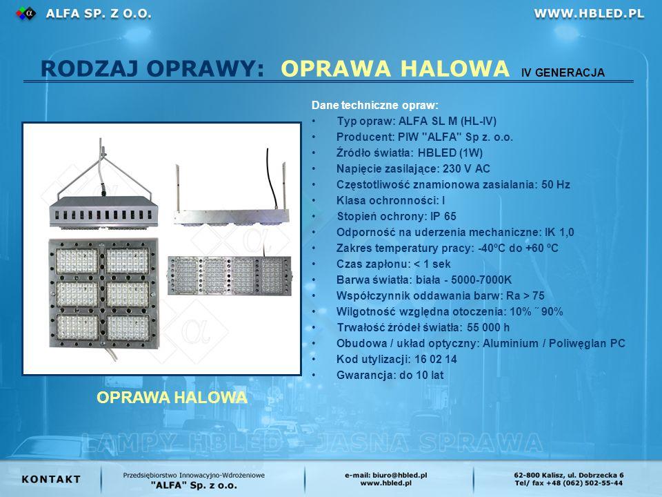 RODZAJ OPRAWY: OPRAWA HALOWA IV GENERACJA Dane techniczne opraw: Typ opraw: ALFA SL M (HL-IV) Producent: PIW