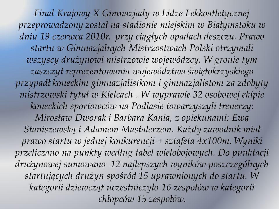 Finał Krajowy X Gimnazjady w Lidze Lekkoatletycznej przeprowadzony został na stadionie miejskim w Białymstoku w dniu 19 czerwca 2010r. przy ciągłych o