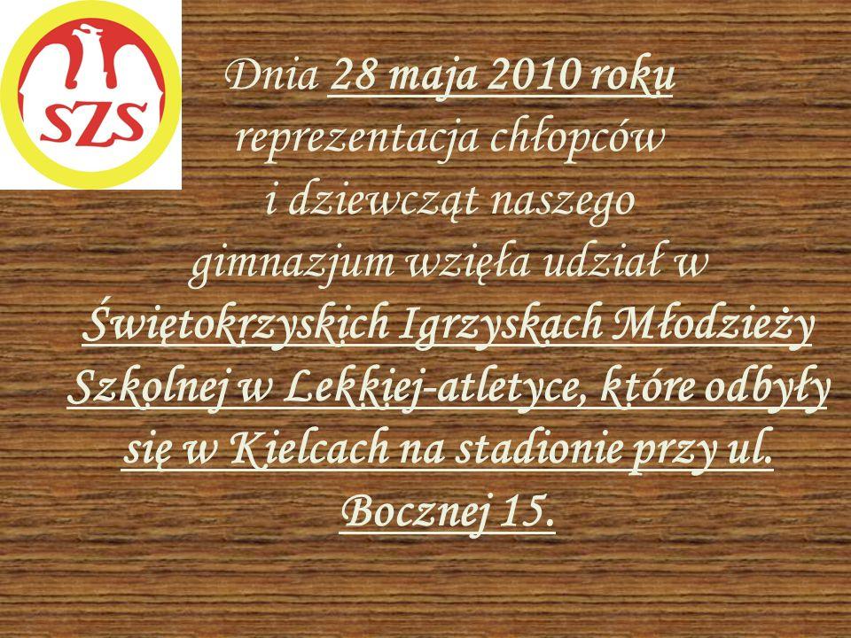 Dnia 28 maja 2010 roku reprezentacja chłopców i dziewcząt naszego gimnazjum wzięła udział w Świętokrzyskich Igrzyskach Młodzieży Szkolnej w Lekkiej-at