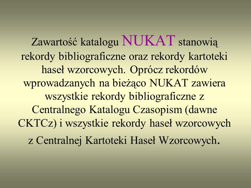 NUKAT Narodowy Uniwersalny Katalog Centralny katalog centralny polskich bibliotek naukowych i akademickich tworzony metodą współkatalogowania.