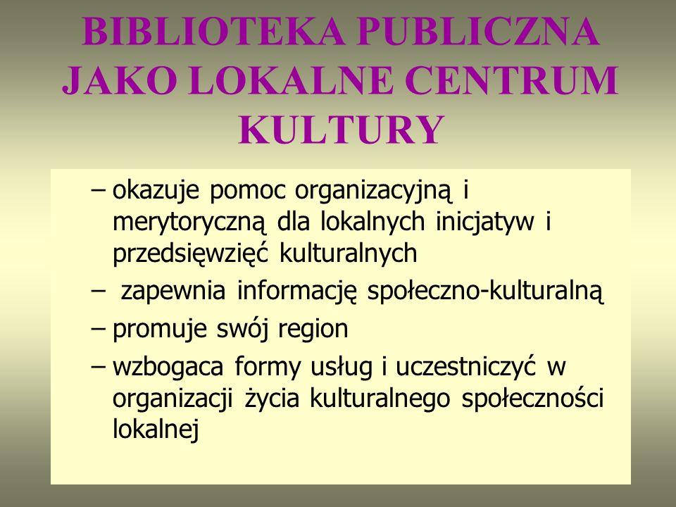 BIBLIOTEKA PUBLICZNA JAKO LOKALNE CENTRUM KULTURY –okazuje pomoc organizacyjną i merytoryczną dla lokalnych inicjatyw i przedsięwzięć kulturalnych – zapewnia informację społeczno-kulturalną –promuje swój region –wzbogaca formy usług i uczestniczyć w organizacji życia kulturalnego społeczności lokalnej