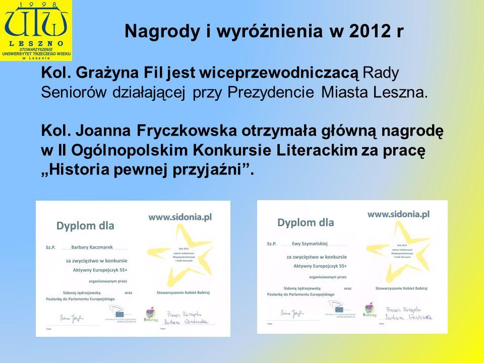 Nagrody i wyróżnienia w 2012 r Kol. Grażyna Fil jest wiceprzewodniczacą Rady Seniorów działającej przy Prezydencie Miasta Leszna. Kol. Joanna Fryczkow
