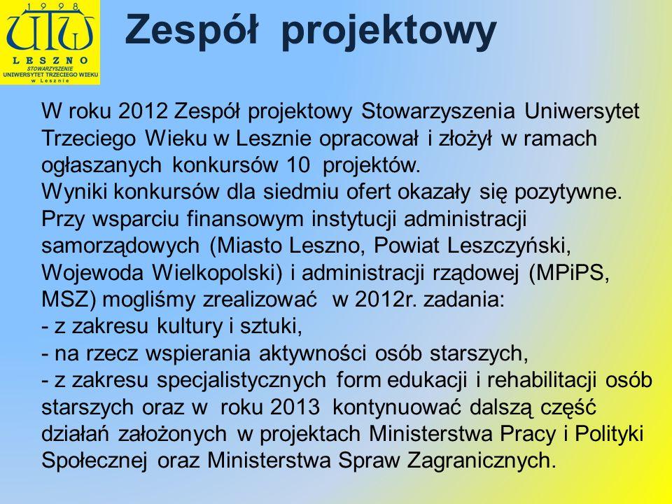 Zespół projektowy W roku 2012 Zespół projektowy Stowarzyszenia Uniwersytet Trzeciego Wieku w Lesznie opracował i złożył w ramach ogłaszanych konkursów