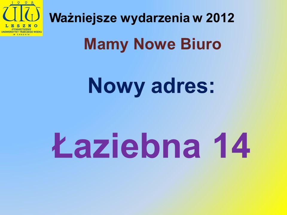 Ważniejsze wydarzenia w 2012 Mamy Nowe Biuro Nowy adres: Łaziebna 14