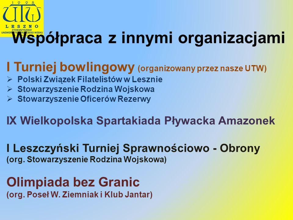 Współpraca z innymi organizacjami I Turniej bowlingowy (organizowany przez nasze UTW) Polski Związek Filatelistów w Lesznie Stowarzyszenie Rodzina Woj