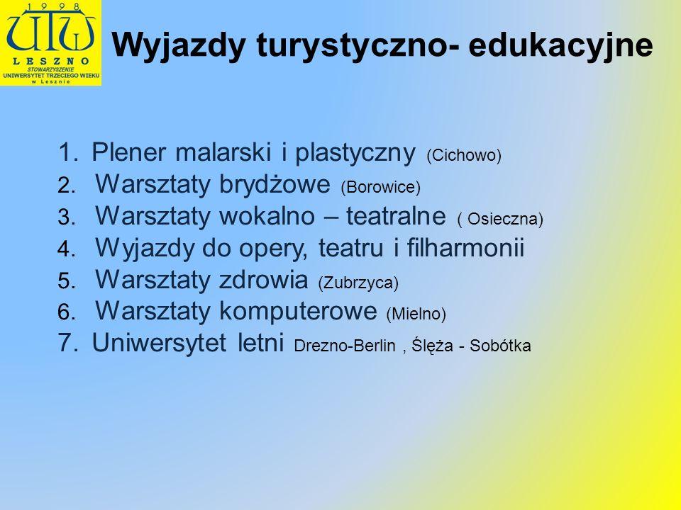 1.Plener malarski i plastyczny (Cichowo) 2. Warsztaty brydżowe (Borowice) 3. Warsztaty wokalno – teatralne ( Osieczna) 4. Wyjazdy do opery, teatru i f