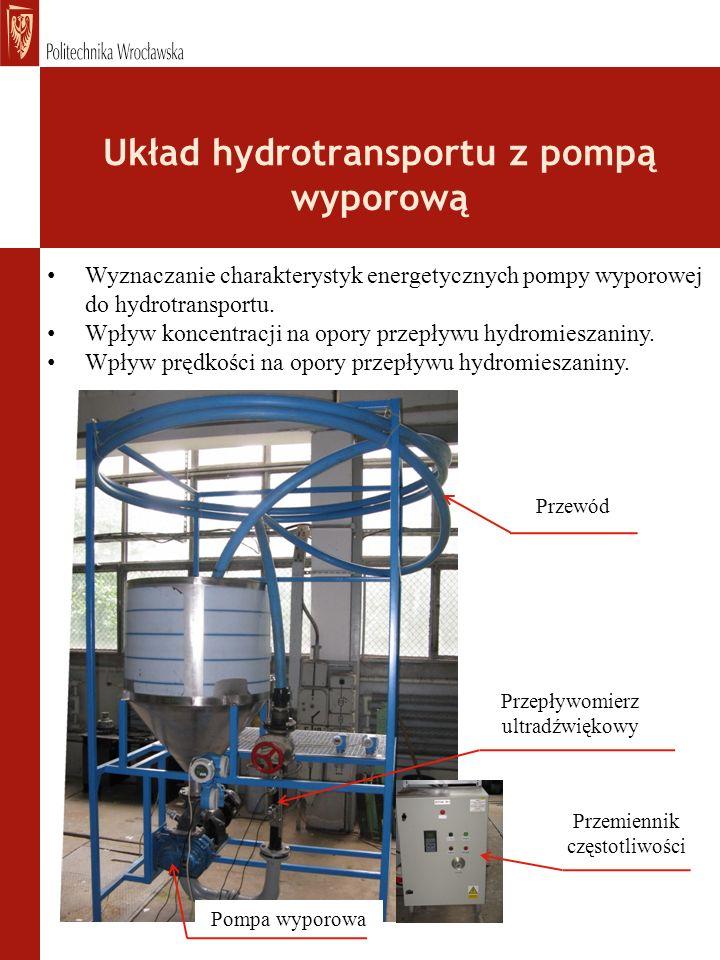 Układ hydrotransportu z pompą wyporową Pompa wyporowa Przepływomierz ultradźwiękowy Wyznaczanie charakterystyk energetycznych pompy wyporowej do hydrotransportu.