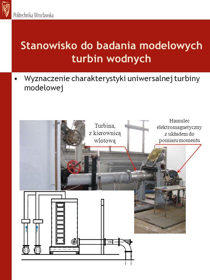 Stanowisko do badania modelowych turbin wodnych Wyznaczenie charakterystyki uniwersalnej turbiny modelowej Turbina, z kierownicą wlotową Hamulec elekt