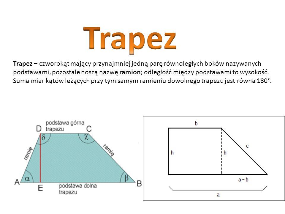 Równoległobok jest szczególnym przypadkiem trapezu. Jego przeciwległe boki są nie tylko równoległe, ale też równej długości. Jego przekątne przecinają