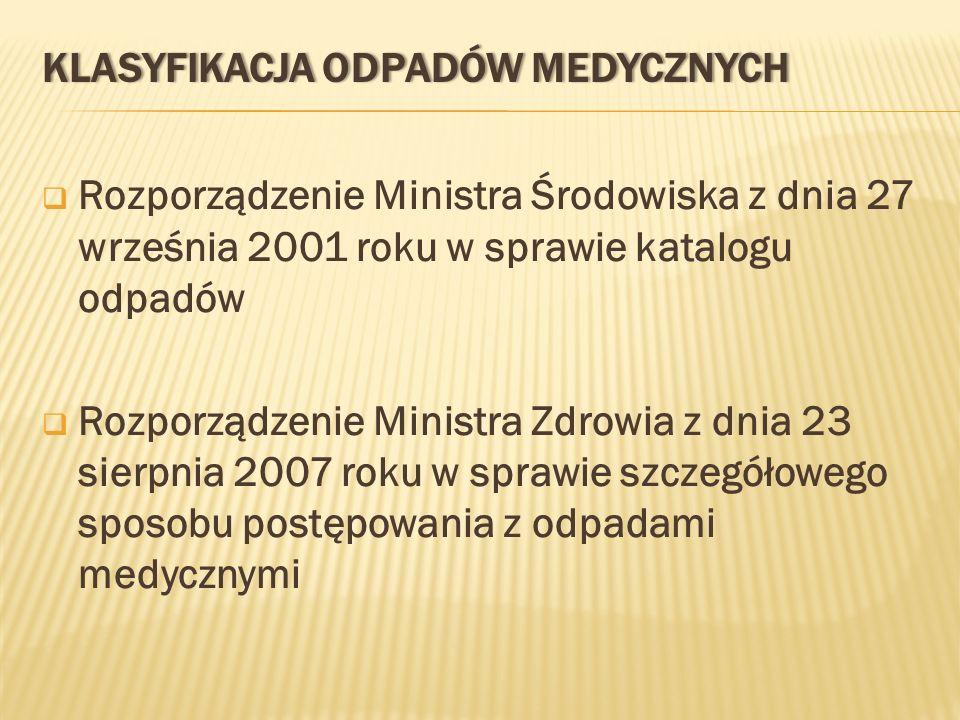 KLASYFIKACJA ODPADÓW MEDYCZNYCHKLASYFIKACJA ODPADÓW MEDYCZNYCH Rozporządzenie Ministra Środowiska z dnia 27 września 2001 roku w sprawie katalogu odpa