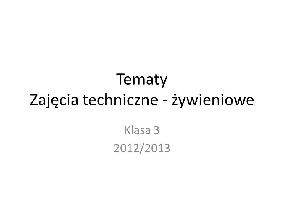 Tematy Zajęcia techniczne - żywieniowe Klasa 3 2012/2013