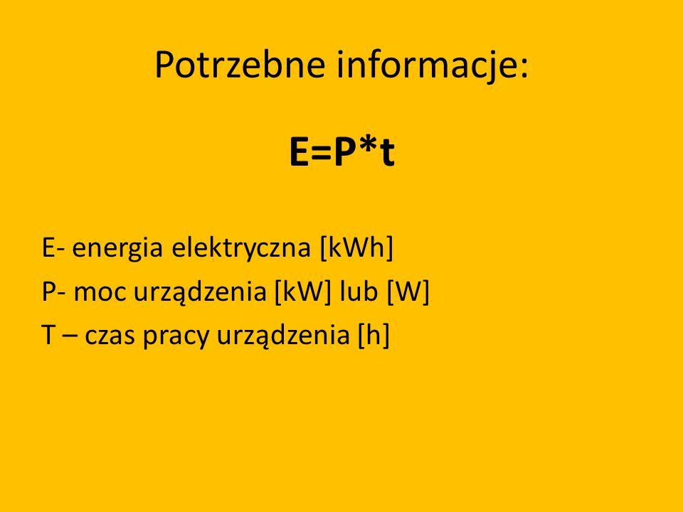 Potrzebne informacje: E=P*t E- energia elektryczna [kWh] P- moc urządzenia [kW] lub [W] T – czas pracy urządzenia [h]