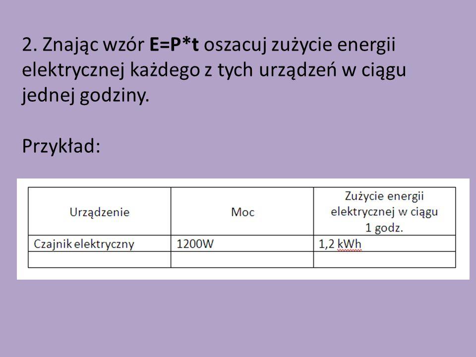 2. Znając wzór E=P*t oszacuj zużycie energii elektrycznej każdego z tych urządzeń w ciągu jednej godziny. Przykład: