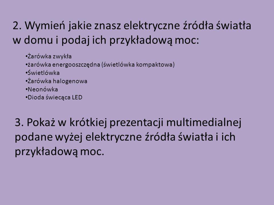 2. Wymień jakie znasz elektryczne źródła światła w domu i podaj ich przykładową moc: Żarówka zwykła żarówka energooszczędna (świetlówka kompaktowa) Św