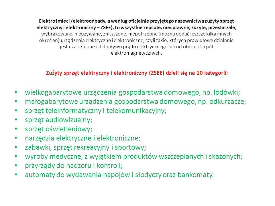 Oto lista niektórych substancji niebezpiecznych zawartych w elektrośmieciach i bateriach Rtęć jest obecna m.in.