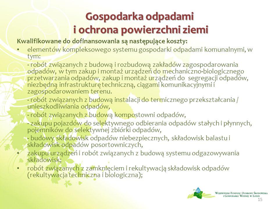 Gospodarka odpadami i ochrona powierzchni ziemi Gospodarka odpadami i ochrona powierzchni ziemi Kwalifikowane do dofinansowania są następujące koszty: