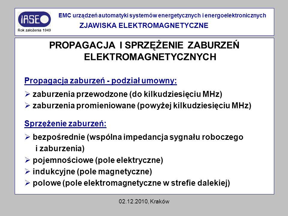 02.12.2010, Kraków PROPAGACJA I SPRZĘŻENIE ZABURZEŃ ELEKTROMAGNETYCZNYCH Rok założenia 1949 EMC urządzeń automatyki systemów energetycznych i energoel