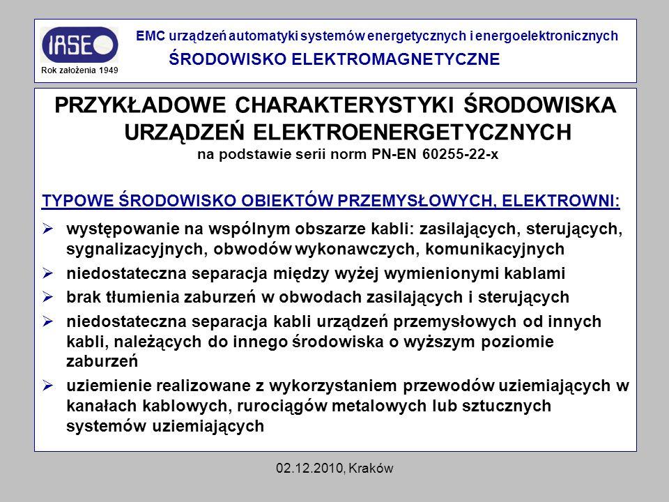 02.12.2010, Kraków PRZYKŁADOWE CHARAKTERYSTYKI ŚRODOWISKA URZĄDZEŃ ELEKTROENERGETYCZNYCH na podstawie serii norm PN-EN 60255-22-x TYPOWE ŚRODOWISKO OB