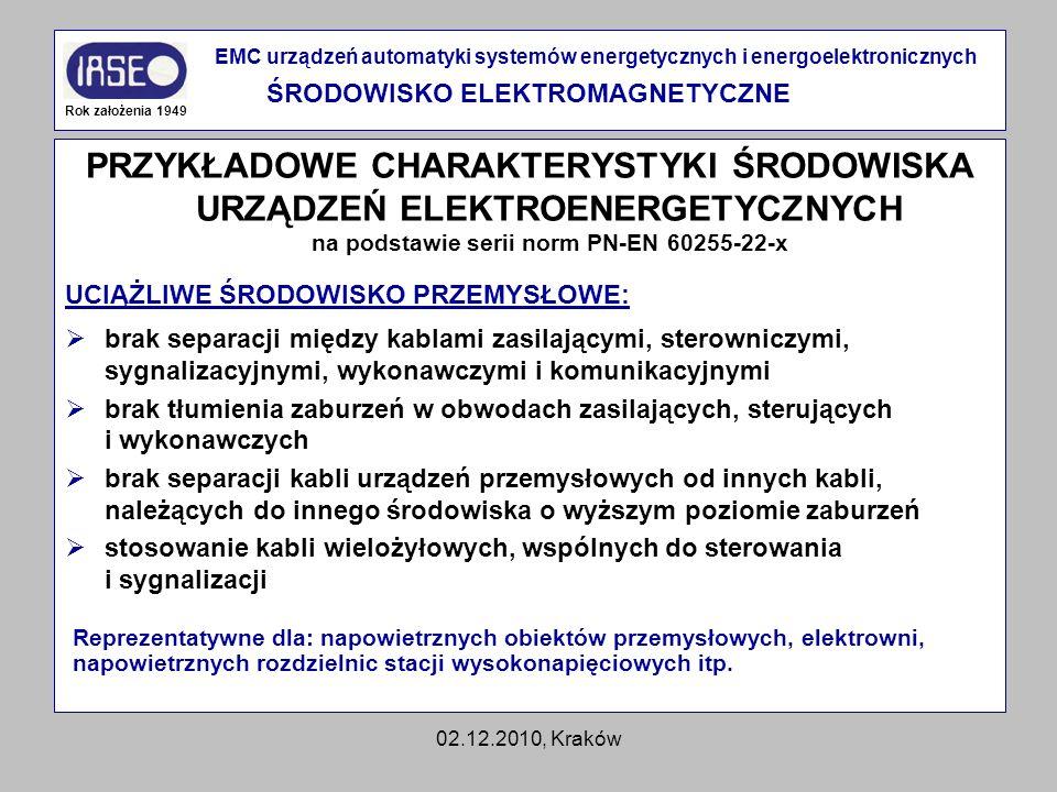02.12.2010, Kraków PRZYKŁADOWE CHARAKTERYSTYKI ŚRODOWISKA URZĄDZEŃ ELEKTROENERGETYCZNYCH na podstawie serii norm PN-EN 60255-22-x UCIĄŻLIWE ŚRODOWISKO