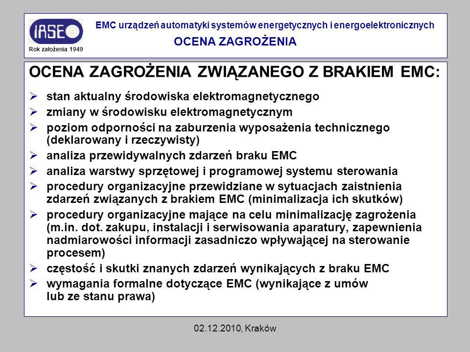 02.12.2010, Kraków OCENA ZAGROŻENIA ZWIĄZANEGO Z BRAKIEM EMC: stan aktualny środowiska elektromagnetycznego zmiany w środowisku elektromagnetycznym po