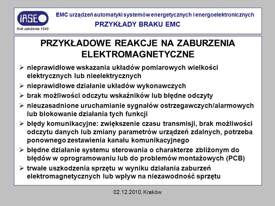 02.12.2010, Kraków PRZYKŁADOWE REAKCJE NA ZABURZENIA ELEKTROMAGNETYCZNE Rok założenia 1949 EMC urządzeń automatyki systemów energetycznych i energoele