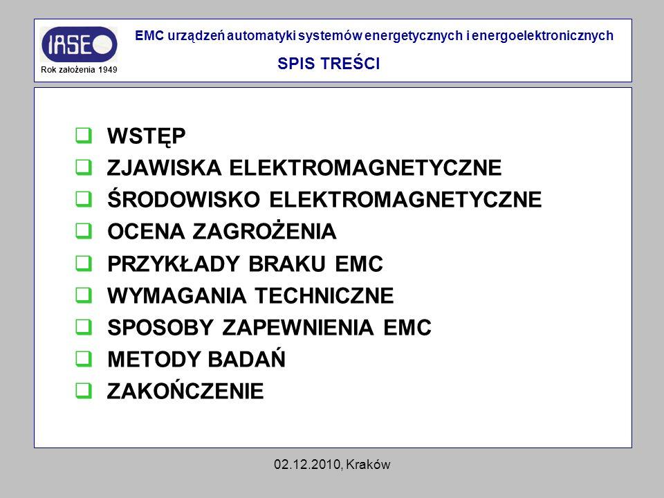 02.12.2010, Kraków WSTĘP ZJAWISKA ELEKTROMAGNETYCZNE ŚRODOWISKO ELEKTROMAGNETYCZNE OCENA ZAGROŻENIA PRZYKŁADY BRAKU EMC WYMAGANIA TECHNICZNE SPOSOBY Z