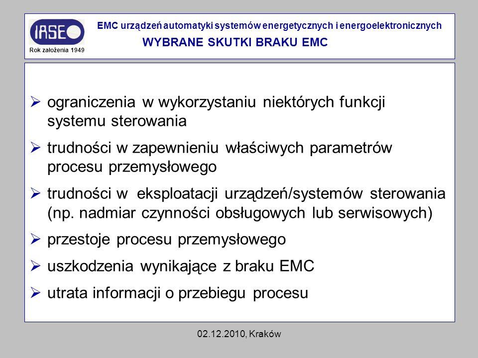 02.12.2010, Kraków ograniczenia w wykorzystaniu niektórych funkcji systemu sterowania trudności w zapewnieniu właściwych parametrów procesu przemysłow