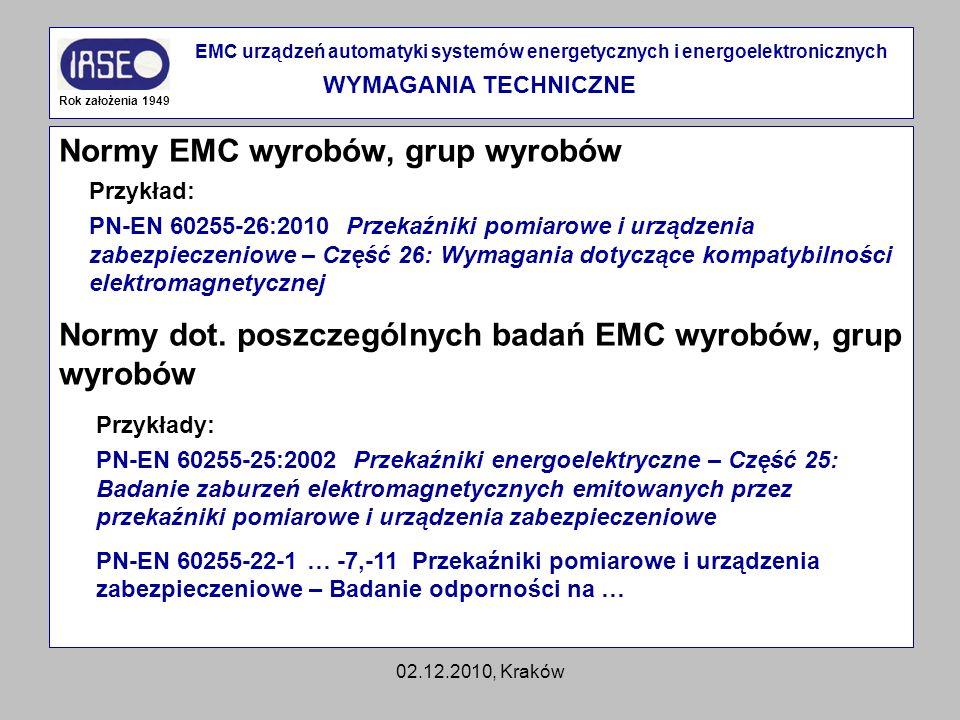 02.12.2010, Kraków Normy EMC wyrobów, grup wyrobów Normy dot. poszczególnych badań EMC wyrobów, grup wyrobów Rok założenia 1949 EMC urządzeń automatyk