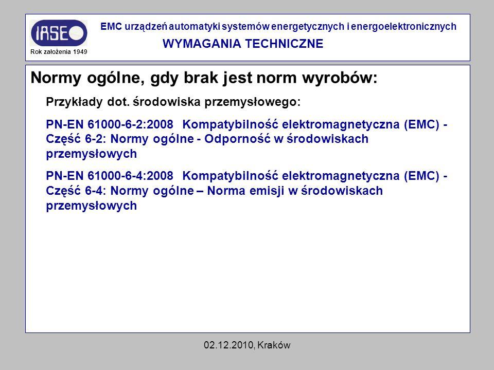 02.12.2010, Kraków Normy ogólne, gdy brak jest norm wyrobów: Rok założenia 1949 EMC urządzeń automatyki systemów energetycznych i energoelektronicznyc