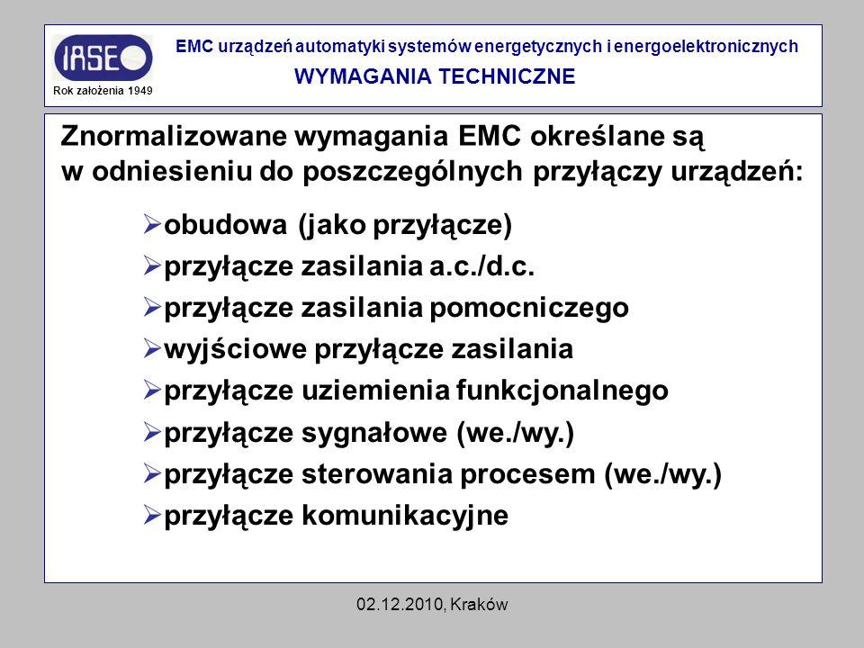 02.12.2010, Kraków Znormalizowane wymagania EMC określane są w odniesieniu do poszczególnych przyłączy urządzeń: Rok założenia 1949 EMC urządzeń autom
