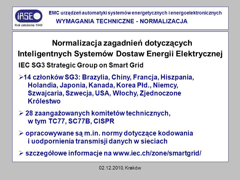 02.12.2010, Kraków Normalizacja zagadnień dotyczących Inteligentnych Systemów Dostaw Energii Elektrycznej Rok założenia 1949 EMC urządzeń automatyki s