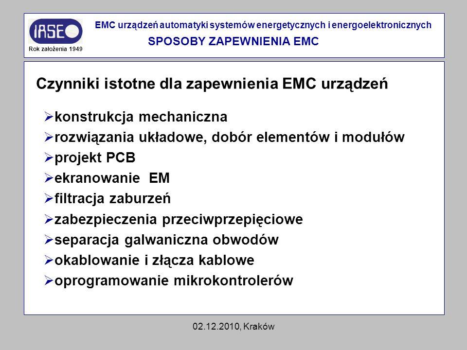 02.12.2010, Kraków Czynniki istotne dla zapewnienia EMC urządzeń Rok założenia 1949 EMC urządzeń automatyki systemów energetycznych i energoelektronic