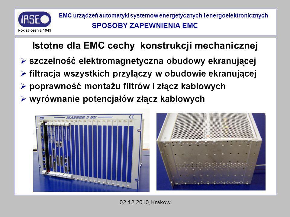 02.12.2010, Kraków Istotne dla EMC cechy konstrukcji mechanicznej Rok założenia 1949 EMC urządzeń automatyki systemów energetycznych i energoelektroni