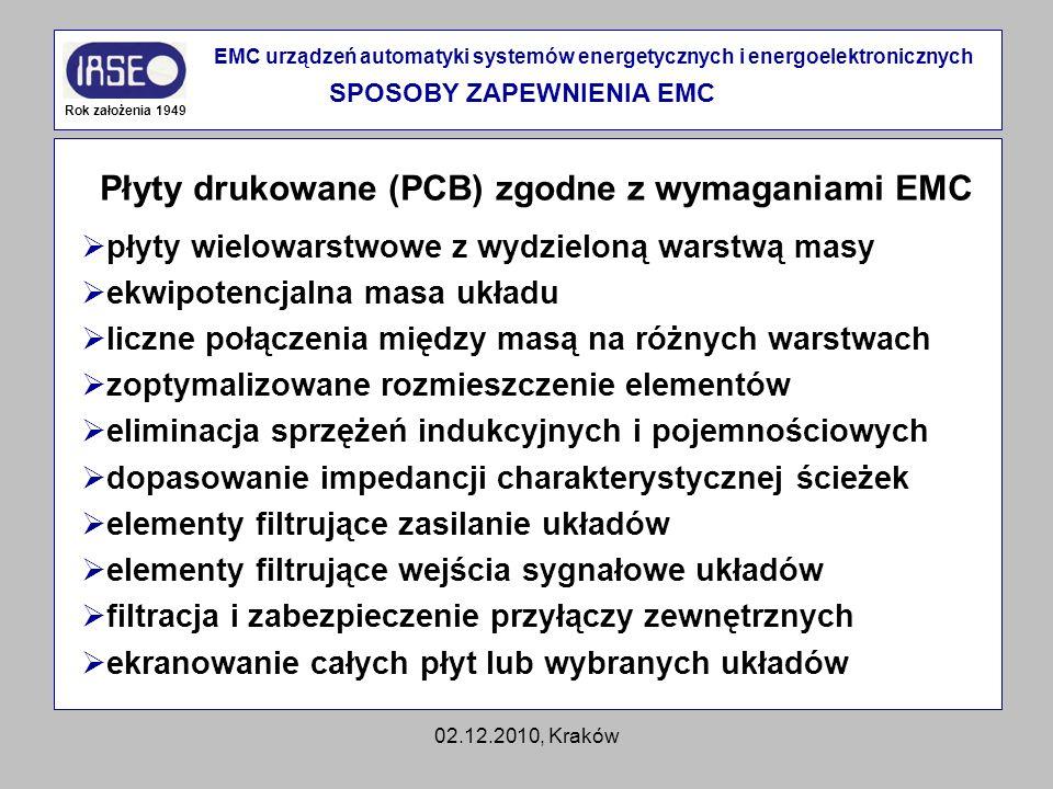 02.12.2010, Kraków Płyty drukowane (PCB) zgodne z wymaganiami EMC Rok założenia 1949 EMC urządzeń automatyki systemów energetycznych i energoelektroni