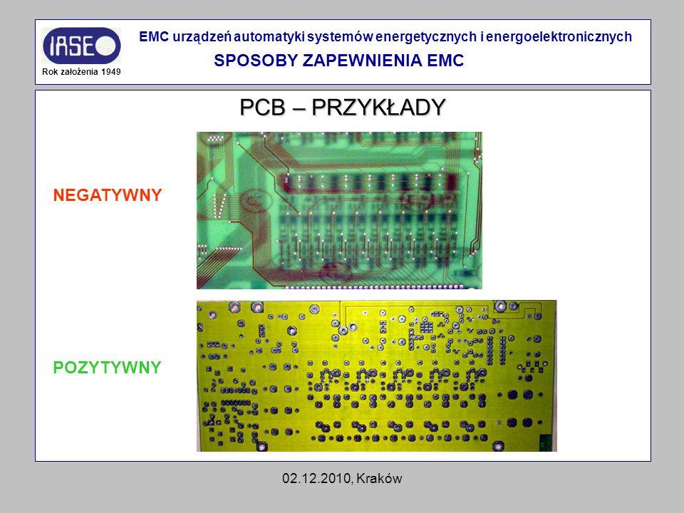 02.12.2010, Kraków PCB – PRZYKŁADY Rok założenia 1949 EMC urządzeń automatyki systemów energetycznych i energoelektronicznych SPOSOBY ZAPEWNIENIA EMC