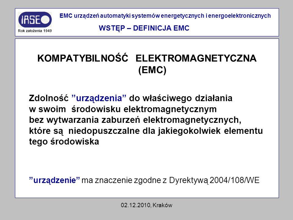 02.12.2010, Kraków KOMPATYBILNOŚĆ ELEKTROMAGNETYCZNA (EMC) Zdolność urządzenia do właściwego działania w swoim środowisku elektromagnetycznym bez wytw
