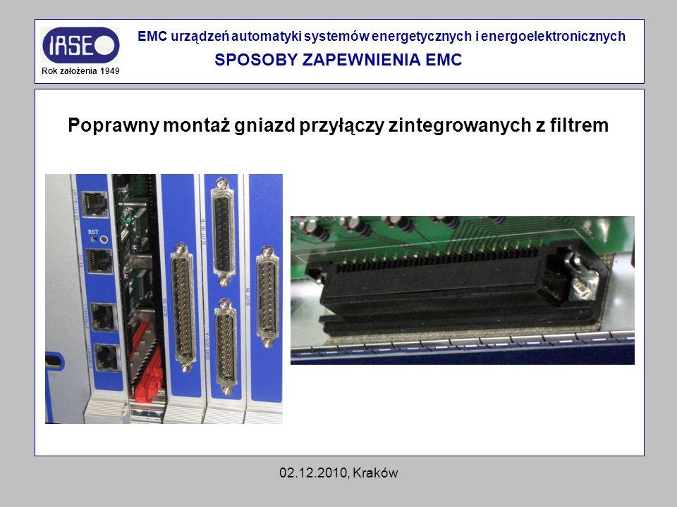 02.12.2010, Kraków Rok założenia 1949 EMC urządzeń automatyki systemów energetycznych i energoelektronicznych SPOSOBY ZAPEWNIENIA EMC Poprawny montaż