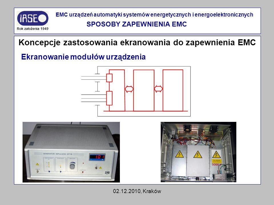 02.12.2010, Kraków Koncepcje zastosowania ekranowania do zapewnienia EMC Rok założenia 1949 EMC urządzeń automatyki systemów energetycznych i energoel