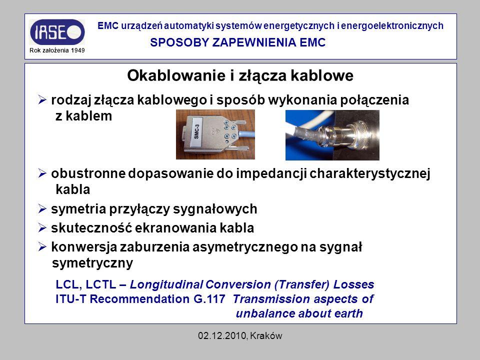 02.12.2010, Kraków Okablowanie i złącza kablowe Rok założenia 1949 EMC urządzeń automatyki systemów energetycznych i energoelektronicznych SPOSOBY ZAP