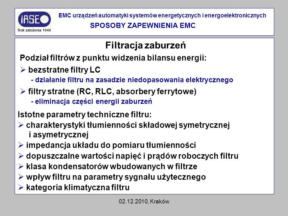 02.12.2010, Kraków Filtracja zaburzeń Rok założenia 1949 EMC urządzeń automatyki systemów energetycznych i energoelektronicznych SPOSOBY ZAPEWNIENIA E