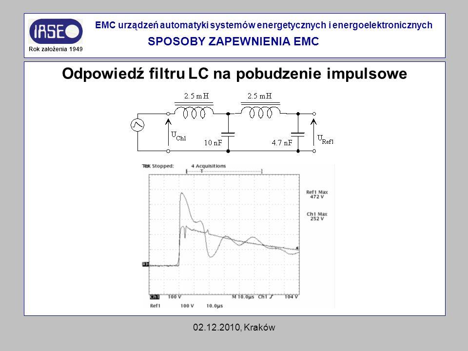 02.12.2010, Kraków Odpowiedź filtru LC na pobudzenie impulsowe Rok założenia 1949 EMC urządzeń automatyki systemów energetycznych i energoelektroniczn