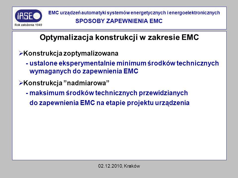 02.12.2010, Kraków Optymalizacja konstrukcji w zakresie EMC Rok założenia 1949 EMC urządzeń automatyki systemów energetycznych i energoelektronicznych