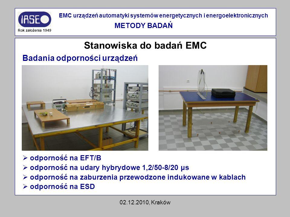 02.12.2010, Kraków Stanowiska do badań EMC Rok założenia 1949 EMC urządzeń automatyki systemów energetycznych i energoelektronicznych METODY BADAŃ Bad
