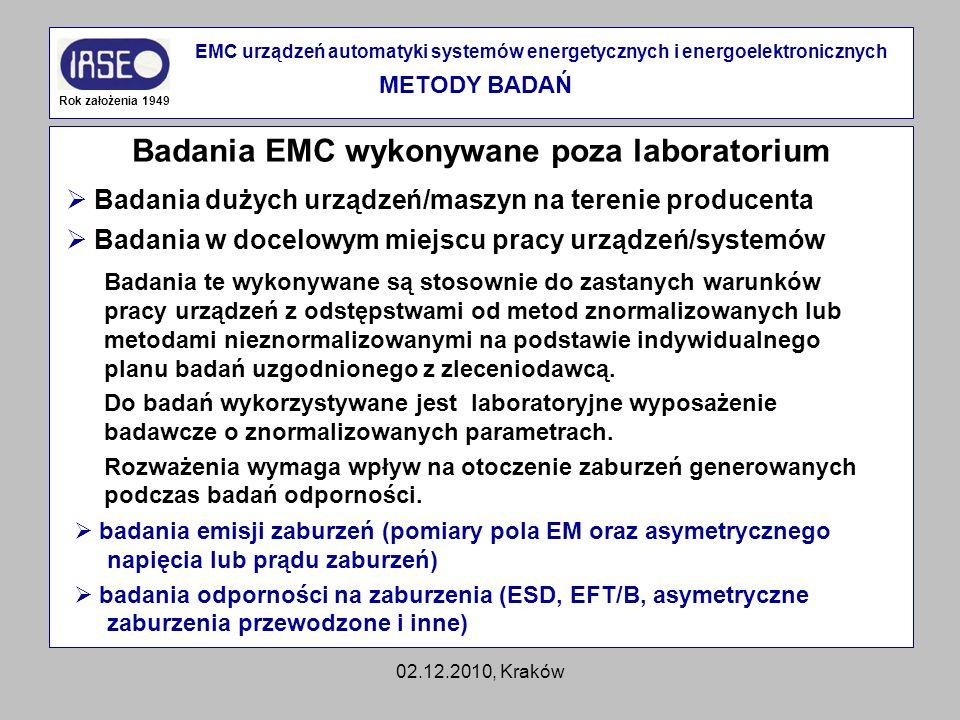 02.12.2010, Kraków Badania EMC wykonywane poza laboratorium Rok założenia 1949 EMC urządzeń automatyki systemów energetycznych i energoelektronicznych