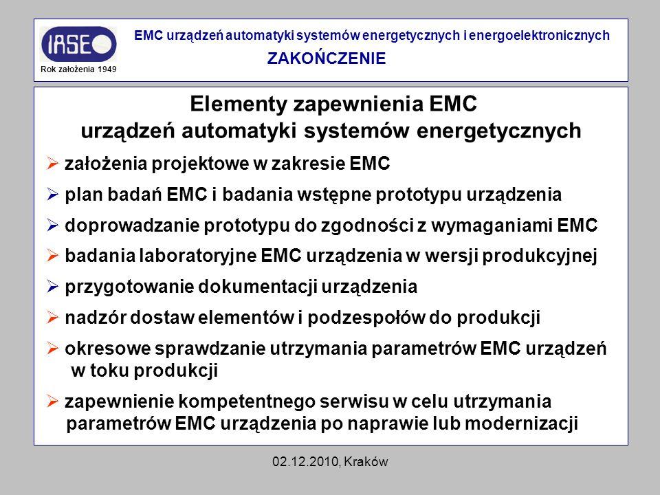 02.12.2010, Kraków Elementy zapewnienia EMC urządzeń automatyki systemów energetycznych Rok założenia 1949 EMC urządzeń automatyki systemów energetycz