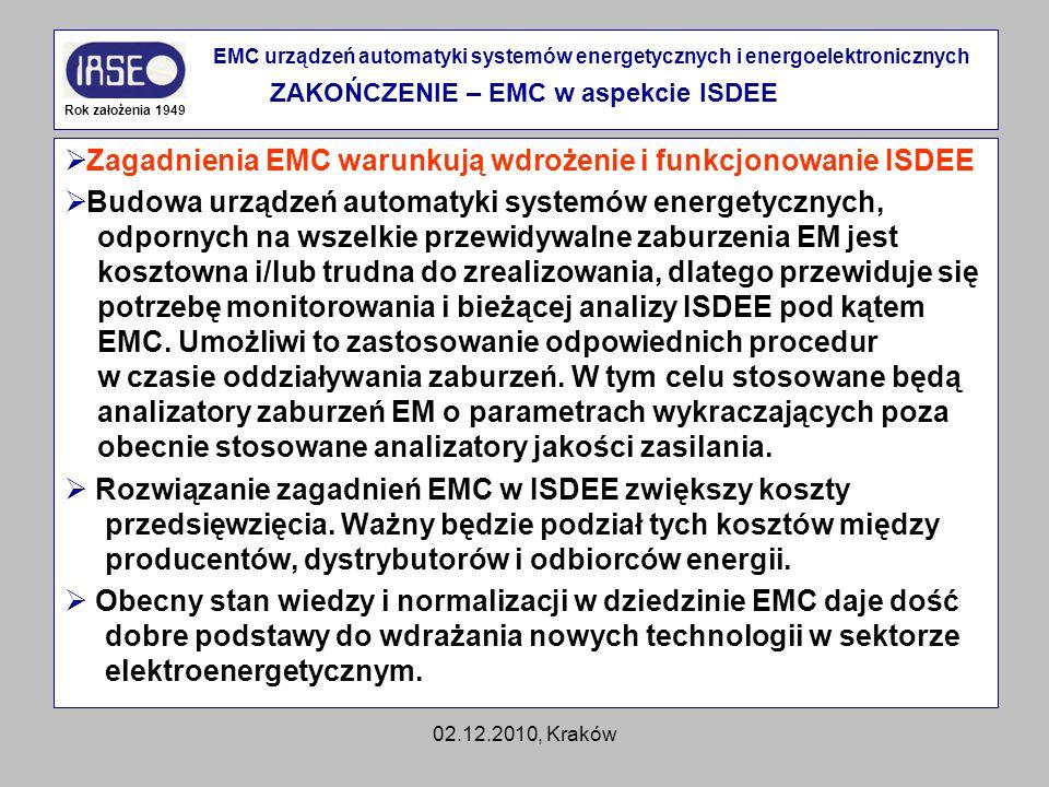 02.12.2010, Kraków Zagadnienia EMC warunkują wdrożenie i funkcjonowanie ISDEE Budowa urządzeń automatyki systemów energetycznych, odpornych na wszelki