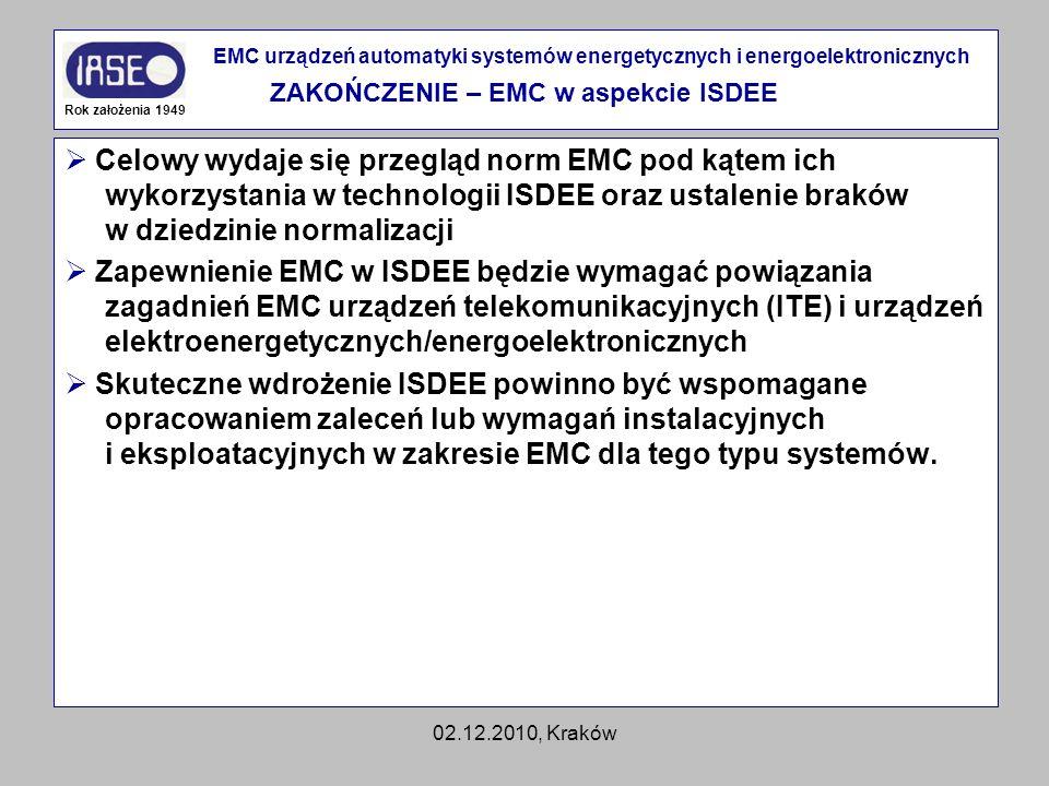 02.12.2010, Kraków Celowy wydaje się przegląd norm EMC pod kątem ich wykorzystania w technologii ISDEE oraz ustalenie braków w dziedzinie normalizacji