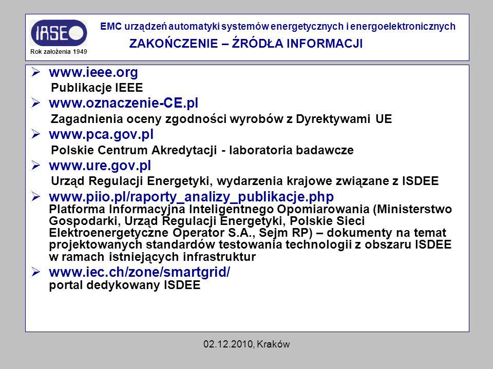 02.12.2010, Kraków www.ieee.org Publikacje IEEE www.oznaczenie-CE.pl Zagadnienia oceny zgodności wyrobów z Dyrektywami UE www.pca.gov.pl Polskie Centr