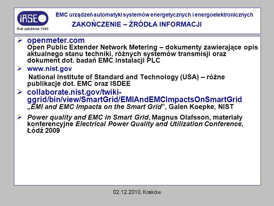 02.12.2010, Kraków openmeter.com Open Public Extender Network Metering – dokumenty zawierające opis aktualnego stanu techniki, różnych systemów transm
